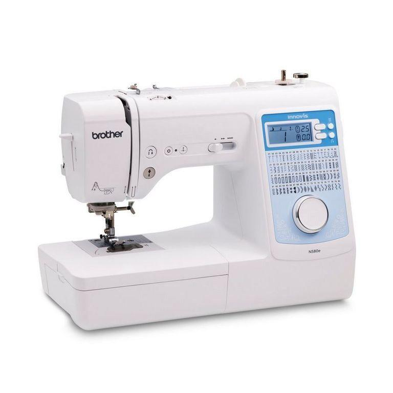 """<p><strong>Brother</strong></p><p>sewingmachinesplus.com</p><p><strong>$499.00</strong></p><p><a href=""""https://go.redirectingat.com?id=74968X1596630&url=https%3A%2F%2Fwww.sewingmachinesplus.com%2Fbro-ns80e.php&sref=https%3A%2F%2Fwww.goodhousekeeping.com%2Fappliances%2Fg16%2Fsewing-machine-reviews%2F"""" rel=""""nofollow noopener"""" target=""""_blank"""" data-ylk=""""slk:Shop Now"""" class=""""link rapid-noclick-resp"""">Shop Now</a></p><p>This computerized Brother sewing machine is popular for offering many exciting features, while being an easy to use machine. This machine has <strong>80 built in stitches and eight styles of one-step buttonholes</strong>, so you can personalize your sewing projects with ease. This machine offers free arm capability when sewing sleeves and drop feed for quilting projects. The large LCD screen makes it easy to adjust the stitch width, length and style. We love that it includes five different presser feet and a wide table for larger projects. Plus, it's one of the most affordable models in this roundup. </p>"""