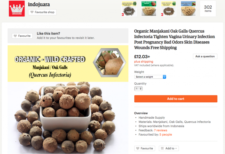 <i>But Dr Gunter says oak galls can make your sex life painful [Photo: Etsy]</i>