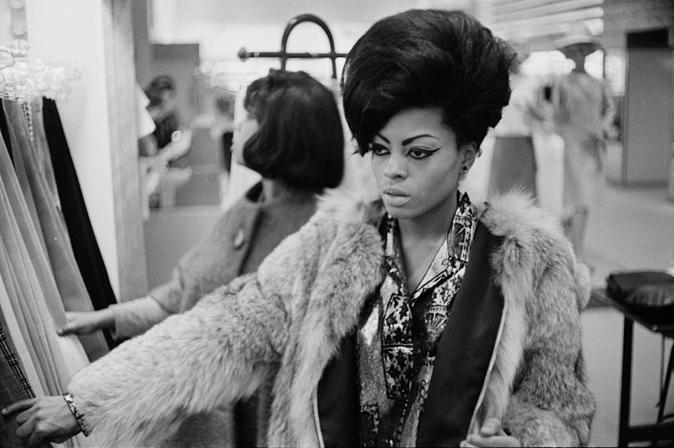 <p>Considered one of the queens of Motown, Ross shops in New York City wearing a fur jacket, sky-scraping bouffant, and her signature winged eye liner. </p>
