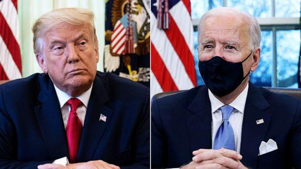PHOTO: Seated in the Oval Office, President Donald Trump, left, Aug. 28, 2020, and President Joe Biden, right, Jan. 20, 2021. (Pool via Getty Images/Reuters)