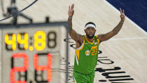 Utah Jazz forward Royce O'Neal gestures after making a 3-pointer against the Denver Nuggets during the first half of an NBA basketball game Friday, May 7, 2021, in Salt Lake City. (AP Photo/Rick Bowmer)