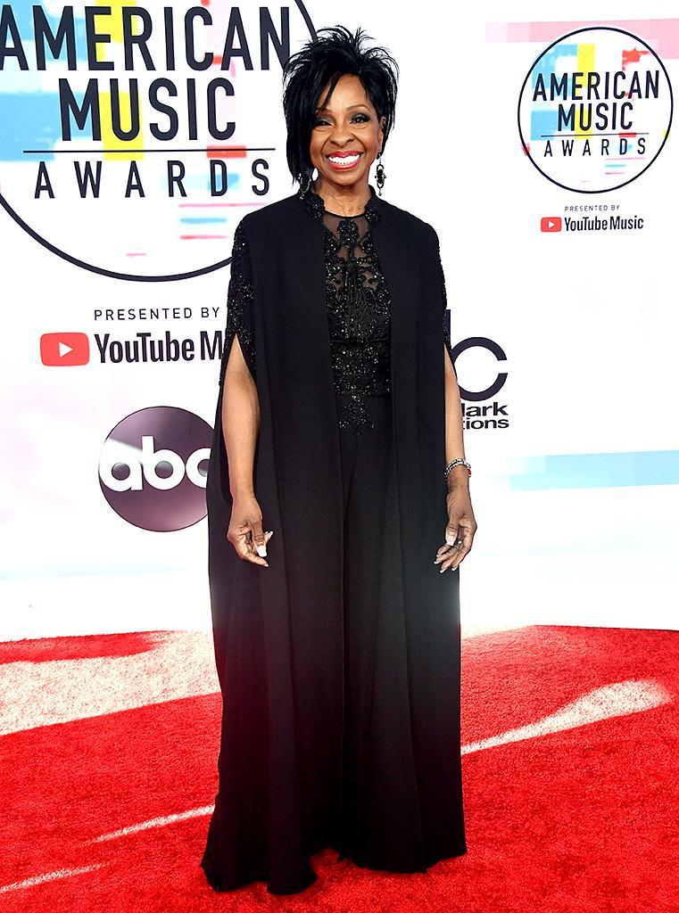 """<p>The music legend attended the awards show to pay tribute to the late, great Aretha Franklin's gospel roots and album <i>Amazing Grace</i>, alongside Ledisi, CeCe Winans, and others. Knight, who chose to wear black, said it was """"<a rel=""""nofollow noopener"""" href=""""https://twitter.com/MsGladysKnight/status/1049717635800125440"""" target=""""_blank"""" data-ylk=""""slk:an honor"""" class=""""link rapid-noclick-resp"""">an honor</a>"""" to be performing. (Photo: Frazer Harrison/Getty Images) </p>"""
