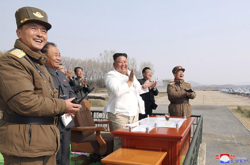 North Korean leader Kim Jong-un inspects an air defence unit earlier this month (AP)