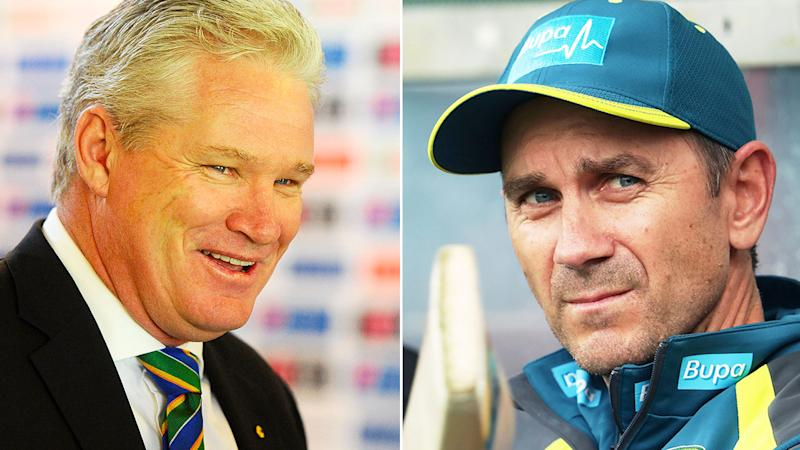 Pictured here, Aussie cricket legend Dean Jones and national coach Justin Langer.