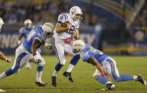 Indianapolis Colts quarterback Andrew Luck (12) is hit from both sides by San Diego Chargers inside linebacker Manti Te'o, right, and defensive end Corey Liuget during the second half of an NFL football game Monday, Oct. 14, 2013, in San Diego. (AP Photo/Lenny Ignelzi)