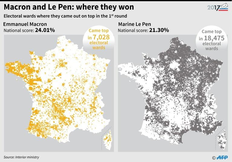 Macron-Le Pen: the constituencies they captured in the first round