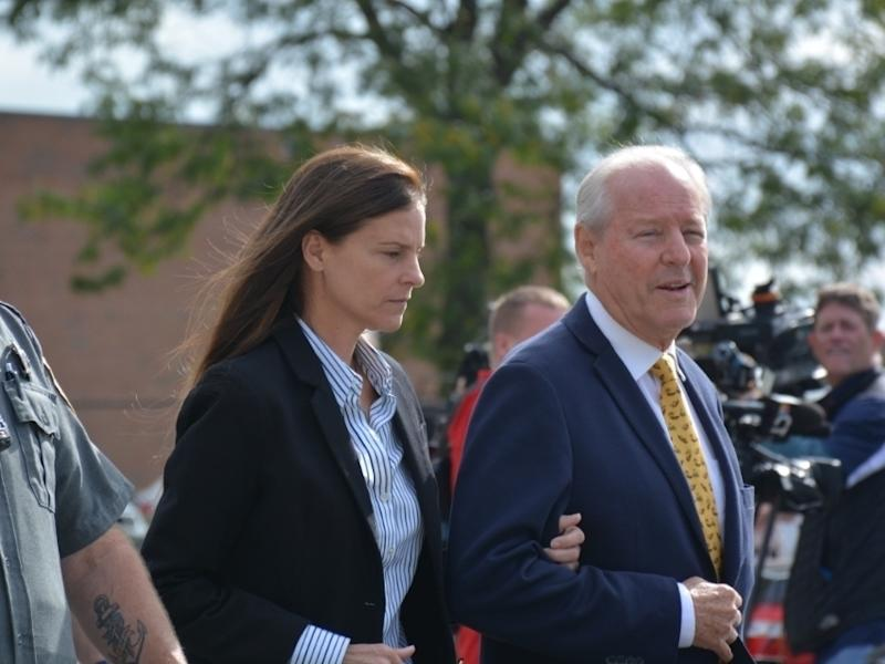 Michelle Troconis, left, and her father, Dr. Carlos Troconis, following a court hearing in 2019.