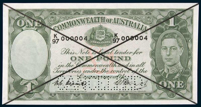 A one-pound banknote in the set expected to fetch more than $250,000 in the Noble Numismatics auction in Sydney.