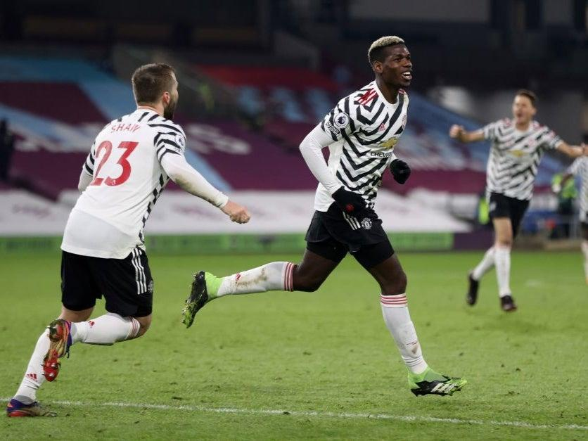 Pogba celebrates his winning goal against BurnleyPOOL/AFP