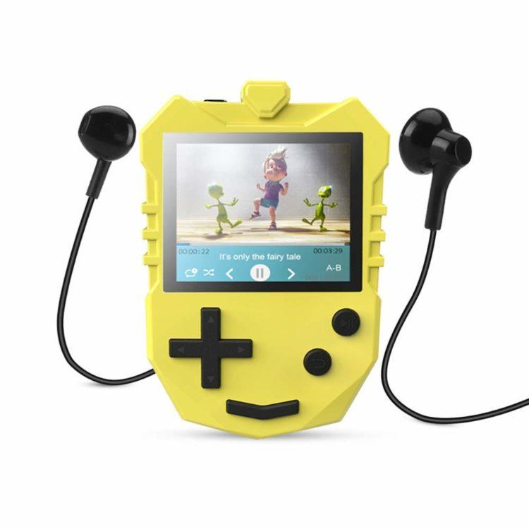 AGPTEK MP3 Player for Kids, Portable 8GB Music Player with Built-in Speaker, FM Radio, Voice Recorder, Expandable Up to 128GB, Yellow