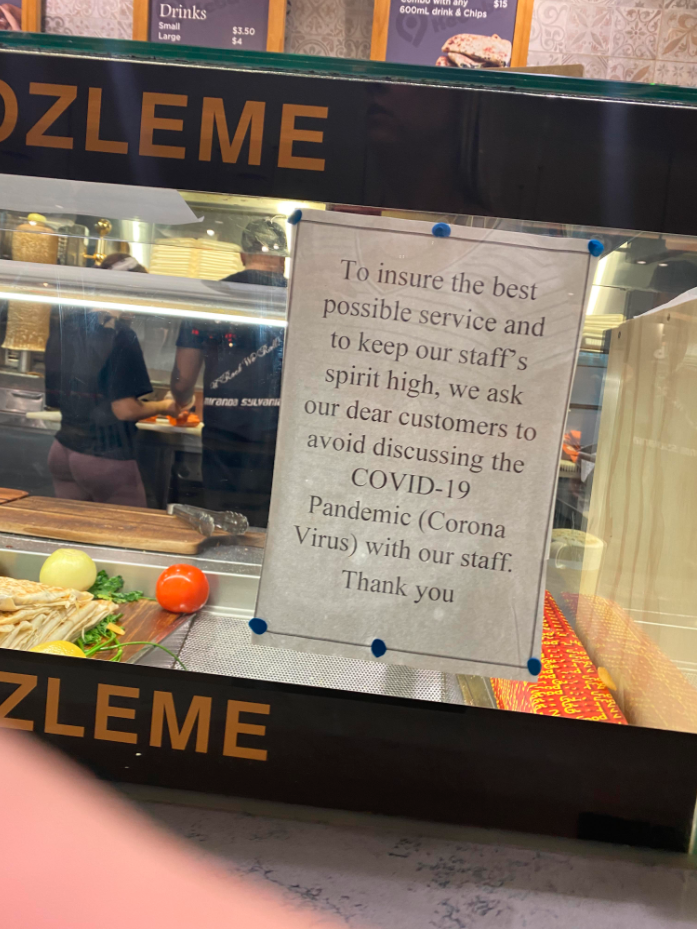 Coronavirus notice on kebab shop counter