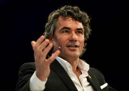 FILE PHOTO: Gavin Patterson, CEO of BT, speaks at the Conferederation of British Industry's annual conference in London, Britain, November 6, 2017. REUTERS/Mary Turner/File Photo