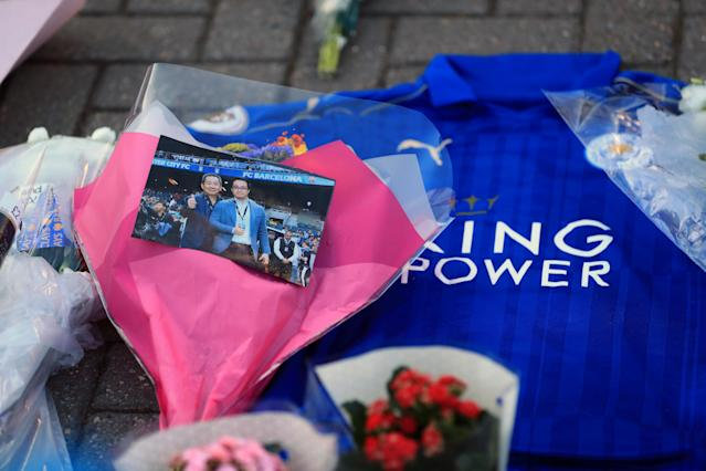 <p>Supporters pay tribute at Leicester City Football Club. Mike Egerton/PA Wire </p>