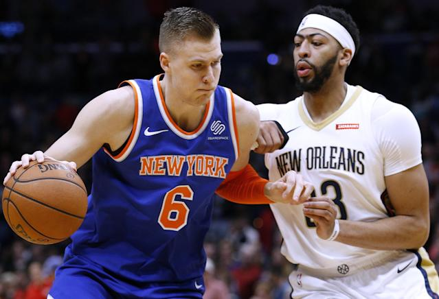 "<a class=""link rapid-noclick-resp"" href=""/nba/players/5464/"" data-ylk=""slk:Kristaps Porzingis"">Kristaps Porzingis</a> is disappointing the NBA's fussiest fan base. (AP Photo/Jonathan Bachman)"