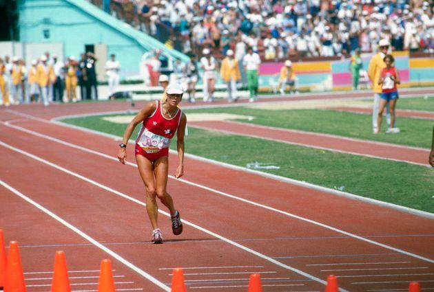 LOS ANGELES, CA - CIRCA 1984: Marathon runner Gabriela Andersen-Schiess of Switzerland limped around the track to finish 37th in the Women's marathon during the Games of the XXIII Olympiad in the 1984 Summer Olympics circa 1984 at the Los Angeles Memorial Coliseum in Los Angeles, California. (Photo by Focus on Sport/Getty Images) (Photo: Focus On Sport via Getty Images)