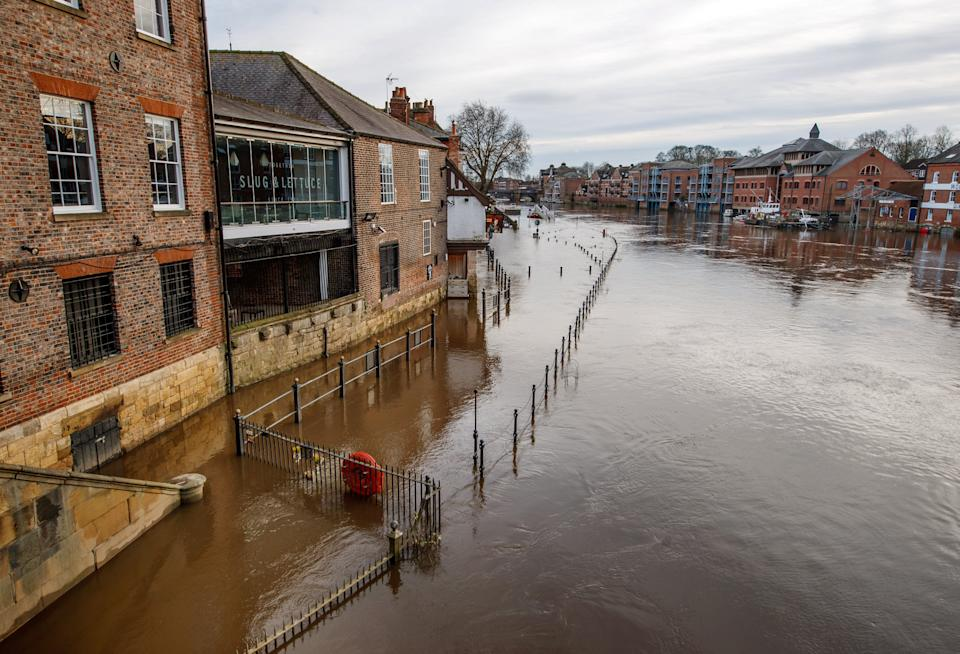 <p>Flooding in York on Monday after the River Ouse burst its banks</p> (PA)