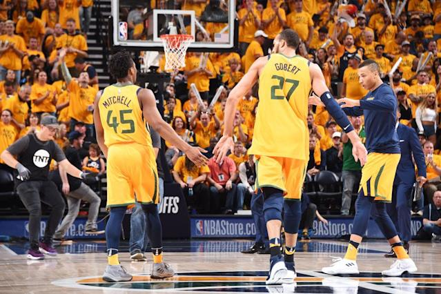 """The Jazz will go as far as Donovan Mitchell and <a class=""""link rapid-noclick-resp"""" href=""""/nba/players/5197/"""" data-ylk=""""slk:Rudy Gobert"""">Rudy Gobert</a> can take them. The question now is whether their offseason moves have set them up for a deeper run, or lowered their ceiling. (Getty)"""
