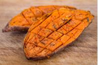 """<p>Sweet potatoes are another diabetes-friendly source of carbs: A medium sweet potato packs 4 grams of fiber and nearly a third of your daily vitamin C. </p><p>They're also a top source of vitamin A, which some findings suggest may improve the function of cells that produce insulin, according to an <a href=""""https://www.jstage.jst.go.jp/article/endocrj/64/3/64_EJ16-0338/_article"""" rel=""""nofollow noopener"""" target=""""_blank"""" data-ylk=""""slk:Endocrine Journal"""" class=""""link rapid-noclick-resp""""><em>Endocrine Journal</em></a> study. </p><p>Again, just be mindful of your portions. You'll get 24 grams of carbs from a medium sweet potato, Zanini says.</p>"""