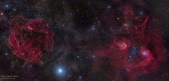 The recently discovered fast radio burst FRB 121102 is located in the upper right portion of this image, which is dominated by an old supernova remnant called (large structure at left).