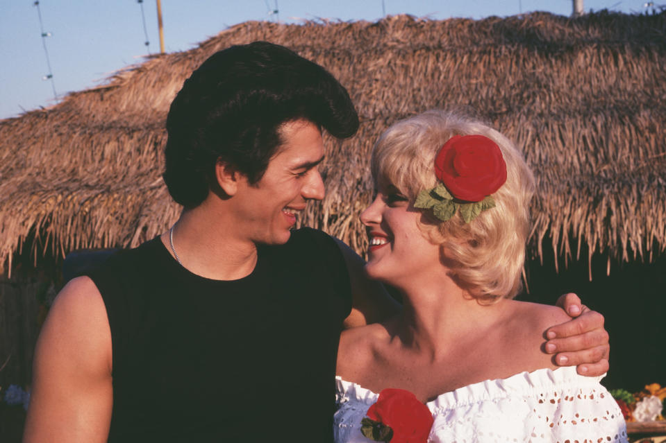 Adrian Zmed and Lorna Luft on the set of