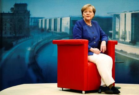 German Chancellor Angela Merkel arrives for a TV interview by ARD public broadcaster in Berlin, Germany July 16, 2017. REUTERS/Hannibal Hanschke