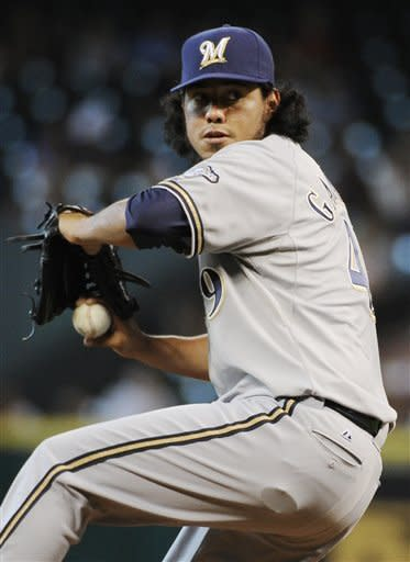 Milwaukee Brewers' Yovani Gallardo delivers a pitch to the Houston Astros in the first inning of a baseball game Friday, July 6, 2012, in Houston. (AP Photo/Pat Sullivan)
