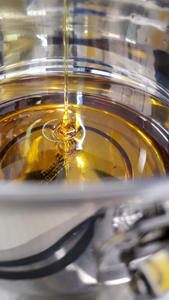 Cannabis distillate being poured into a metal vessel in the Company's extraction facility, photographed to show the transparency of the extract due to its purity, as well as its honey-like viscosity.
