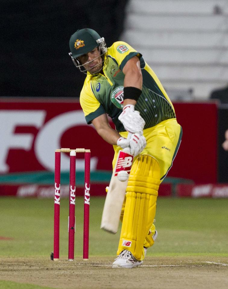 Australia's Aaron Finch plays a shot during the cricket T20 International cricket match against South Africa in Durban, March 12, 2014. REUTERS/Rogan Ward (SOUTH AFRICA - Tags: SPORT CRICKET)