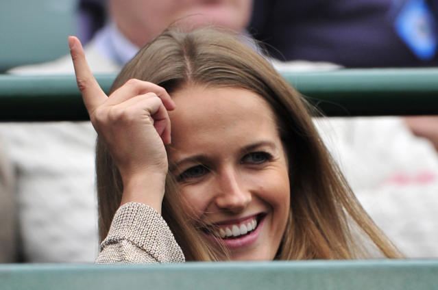 Kim Sears, girlfriend of Britain's Andy Murray in the crowd before his fourth round men's singles match against Croatia's Marin Cilic on day seven of the 2012 Wimbledon Championships tennis tournament at the All England Tennis Club in Wimbledon, southwest London, on July 2, 2012. AFP PHOTO / GLYN KIRK RESTRICTED TO EDITORIAL USEGLYN KIRK/AFP/GettyImages