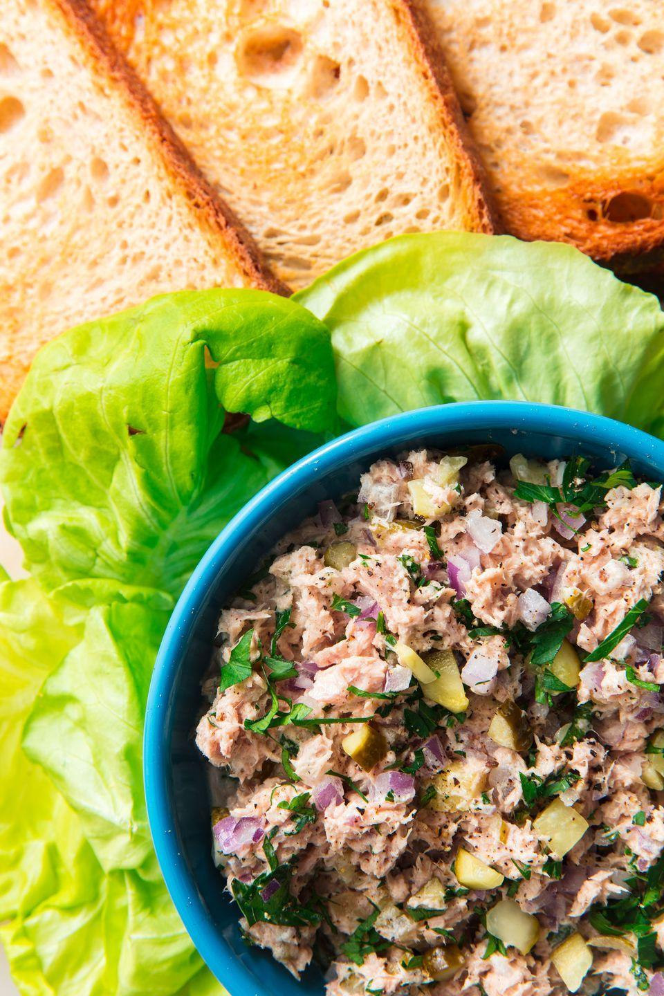 """<p>When a recipe is this good, it doesn't matter what your desk neighbors think.</p><p>Get the recipe from <a href=""""https://www.delish.com/cooking/recipe-ideas/a19637640/best-tuna-salad-recipe/"""" rel=""""nofollow noopener"""" target=""""_blank"""" data-ylk=""""slk:Delish"""" class=""""link rapid-noclick-resp"""">Delish</a>.</p>"""