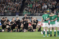 The All Blacks perform the haka before the Rugby World Cup quarterfinal match at Tokyo Stadium between New Zealand and Ireland in Tokyo, Japan, Saturday, Oct. 19, 2019. (AP Photo/Mark Baker)