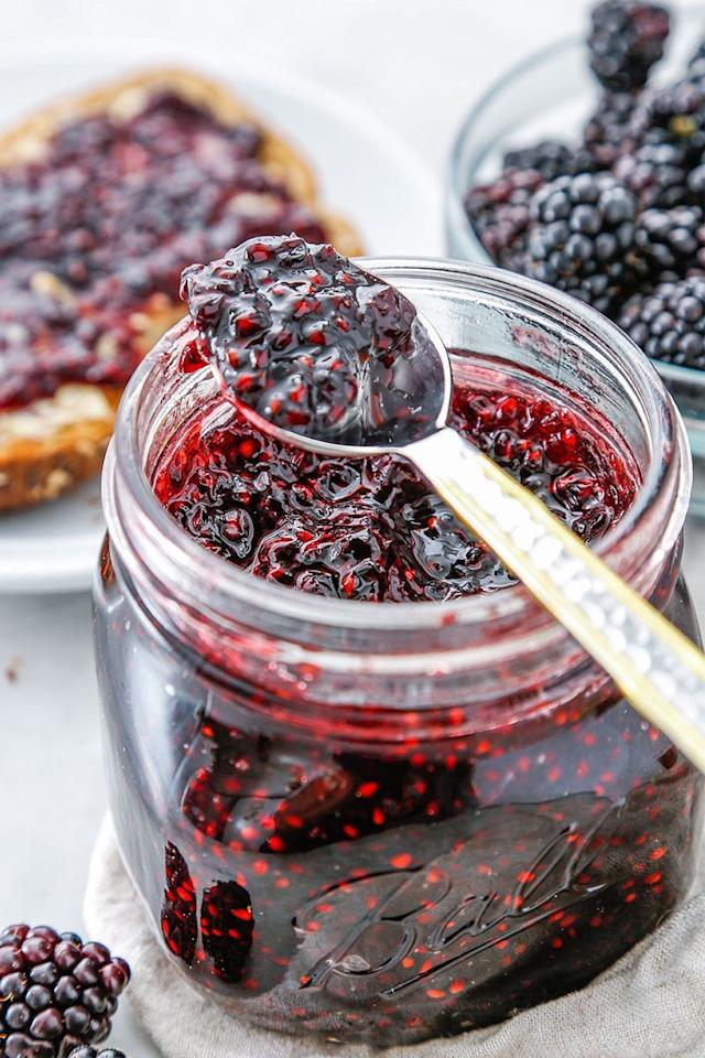 """<p>Whether you're spreading it on toast or swirling it into your hot <a href=""""https://www.delish.com/uk/cooking/recipes/a29016856/slow-cooker-blueberry-oatmeal-recipe/"""" target=""""_blank"""">porridge</a>, this jam is sure to give your breakfast a major upgrade. </p><p>Get the <a href=""""https://www.delish.com/uk/cooking/recipes/a32943811/blackberry-jam-recipe/"""" target=""""_blank"""">Blackberry Jam</a> recipe.</p>"""