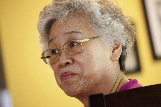 Myunghee Bae, the mother of Kenneth Bae, is pictured during an interview with Reuters in Lynnwood, Washington