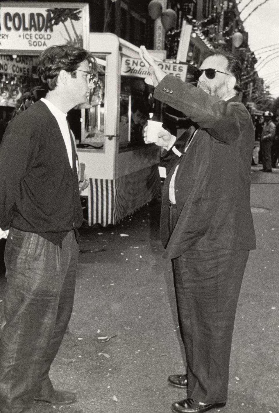 <p>Actor Andy Garcia and director Francis Ford Coppola are seen in Little Italy, New York City during the filming of the third <em>Godfather </em>movie. </p>