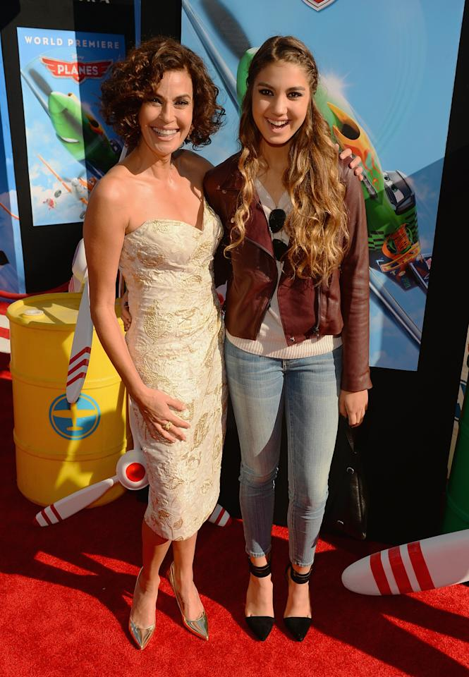 """HOLLYWOOD, CA - AUGUST 05: Actress Teri Hatcher and daughter Emerson Tenney attend the premiere of Disney's """"Planes"""" at the El Capitan Theatre on August 5, 2013 in Hollywood, California.  (Photo by Mark Davis/Getty Images)"""