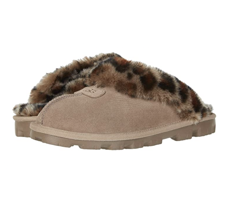 """<p><strong>UGG</strong></p><p>zappos.com</p><p><strong>$119.95</strong></p><p><a href=""""https://go.redirectingat.com?id=74968X1596630&url=https%3A%2F%2Fwww.zappos.com%2Fp%2Fugg-coquette-amberlight%2Fproduct%2F7138704&sref=https%3A%2F%2Fwww.seventeen.com%2Ffashion%2Fg32434960%2Fcute-slippers%2F"""" rel=""""nofollow noopener"""" target=""""_blank"""" data-ylk=""""slk:Shop Now"""" class=""""link rapid-noclick-resp"""">Shop Now</a></p><p>These have been my quarantine footwear of choice for the past two months (except mine are Ugly Christmas sweater print, instead of this fab leopard design). </p>"""