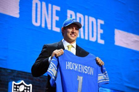 Apr 25, 2019; Nashville, TN, USA; T.J. Hockenson (Iowa) is selected as the number eight overall pick by the Detroit Lions in the first round of the 2019 NFL Draft in Downtown Nashville. Mandatory Credit: Christopher Hanewinckel-USA TODAY Sports