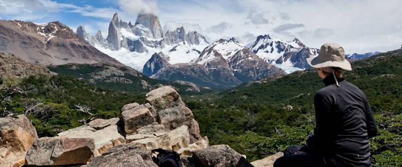 Fitz Roy mountain landscape with woman