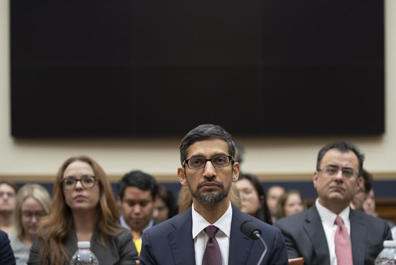 Google CEO Sundar Pichai testifies before the House Judiciary Committee on Dec. 11. (ASSOCIATED PRESS)