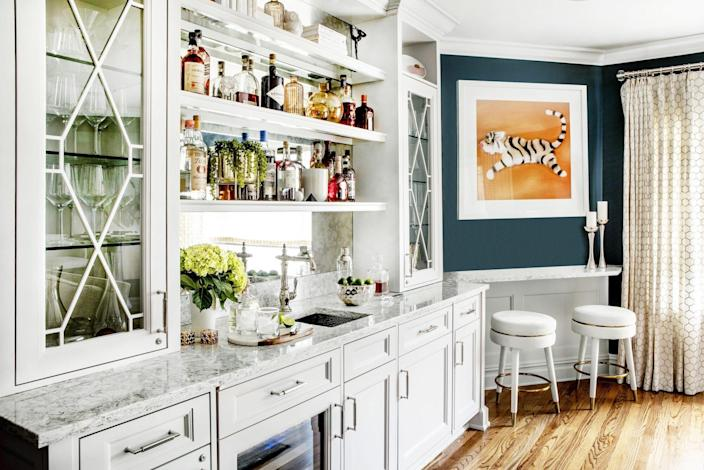 At Home Bar with Teal Paint on Wall