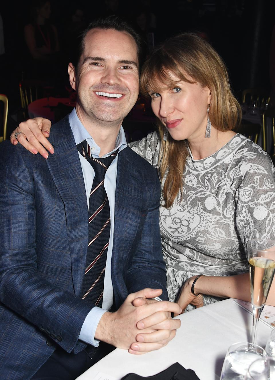 LONDON, ENGLAND - MARCH 16:  Jimmy Carr (L) and Karoline Copping attend the Roundhouse Gala at The Roundhouse on March 16, 2017 in London, England.  (Photo by David M. Benett/Dave Benett/Getty Images for Roundhouse)