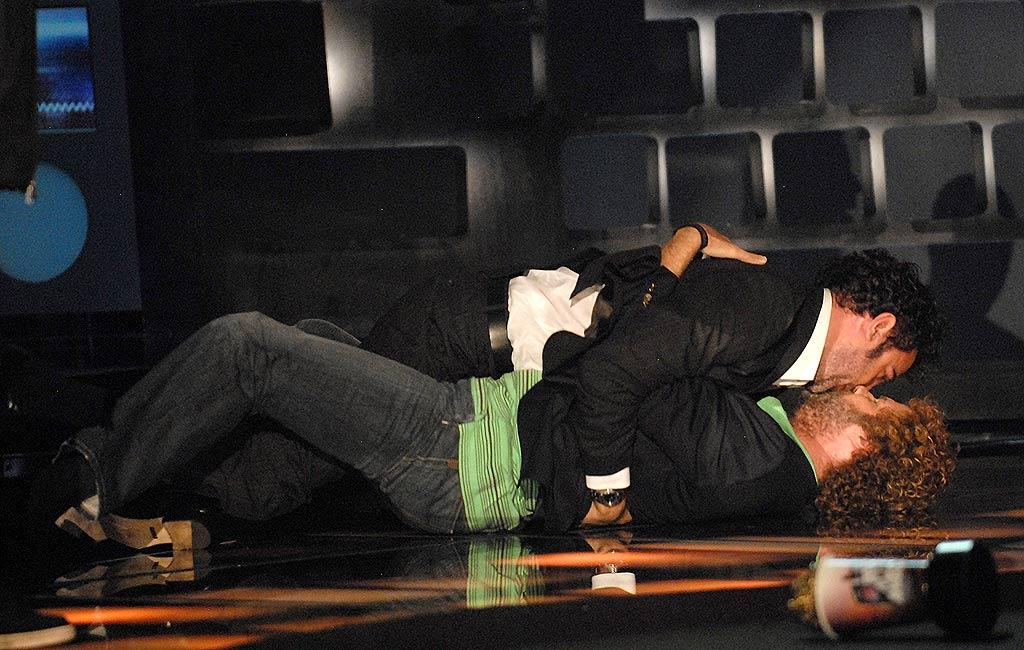 """Sacha Baron Cohen and Will Ferrell make-out after acceptinng Best Kiss award at the MTV Movie Awards. Kevin Mazur/<a href=""""http://www.wireimage.com"""" target=""""new"""">WireImage.com</a> - June 3, 2007"""