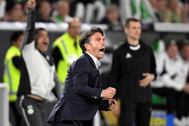 Soccer Football - Bundesliga Promotion/Relegation Playoff First leg - VfL Wolfsburg v Holstein Kiel - Volkswagen Arena, Wolfsburg, Germany - May 17, 2018 Wolfsburg coach Bruno Labbadia celebrates their second goal REUTERS/Fabian Bimmer DFL RULES TO LIMIT THE ONLINE USAGE DURING MATCH TIME TO 15 PICTURES PER GAME. IMAGE SEQUENCES TO SIMULATE VIDEO IS NOT ALLOWED AT ANY TIME. FOR FURTHER QUERIES PLEASE CONTACT DFL DIRECTLY AT + 49 69 650050