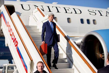 U.S. Secretary of State John Kerry arrives at Vnukovo international airport near Moscow, Russia, March 23, 2016. REUTERS/Andrew Harnik/Pool