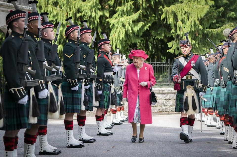 The Queen during an inspection of the Balaklava Company, 5 Battalion The Royal Regiment of Scotland at the gates at Balmoral (Jane Barlow/PA) (PA Wire)