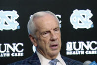 FILE - North Carolina head coach Roy Williams talks to the media in the post-game press conference after an NCAA college basketball game against Virginia at the Dean Smith Center in Chapel Hill, N.C., in this Saturday, Feb. 15, 2020, file photo. North Carolina announced Thursday, April 1, 2021, that Hall of Fame basketball coach Roy Williams is retiring after a 33-year career that includes three national championships. (AP Photo/Chris Seward, File)