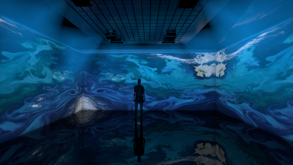 Aqueous, the new show at Artechouse in Miami Beach, explores the color of blue in the context of water. All sessions are every 30 minutes and limited to 25 people. Artechouse is located at 736 Collins Ave.
