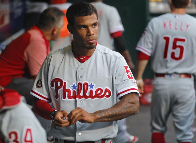 Phillies outfielder Nick Williams isn't happy about his playing time. (AP Photo/Julie Jacobson)