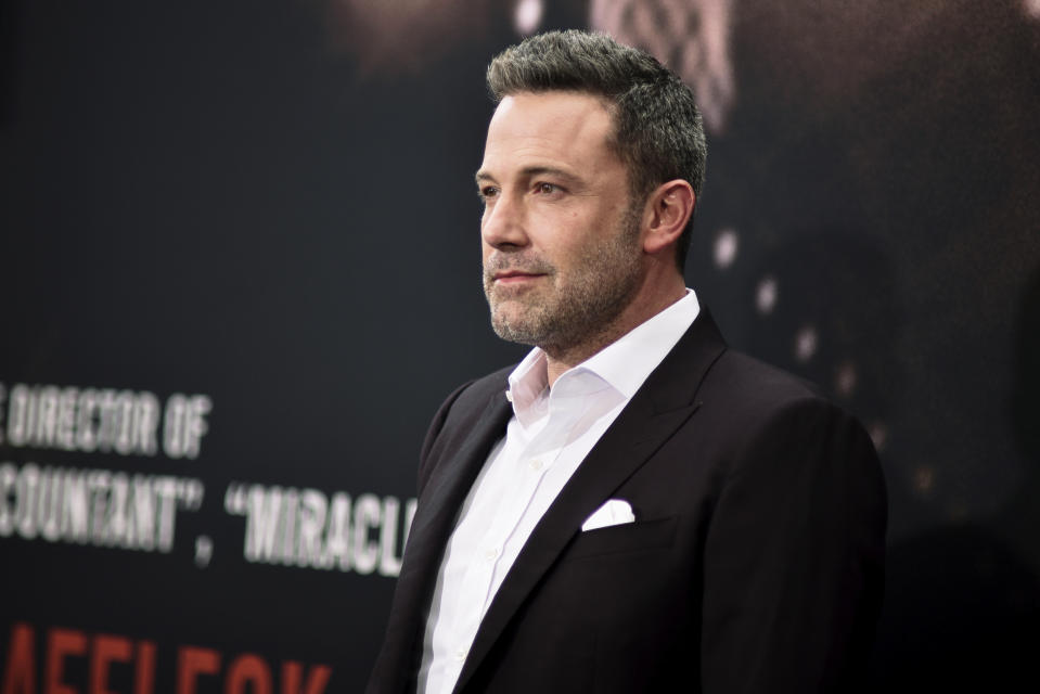 """Ben Affleck attends the LA premiere of """"The Way Back"""" at Regal Cinemas on Sunday, March 1, 2020, in Los Angeles. (Photo by Richard Shotwell/Invision/AP)"""
