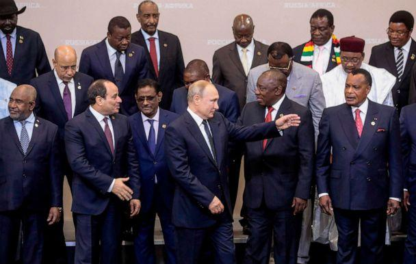 PHOTO: A family photo with heads of countries taking part in the 2019 Russia-Africa Summit at the Sirius Park of Science and Art in Sochi on Oct. 24, 2019. (Sergei Chirikov/AFP via Getty Images)
